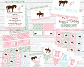 Shabby Chic Vintage Pony Printable Party Package - Pink and Light Blue, Lace, Floral, Shabby Chic Birthday Party
