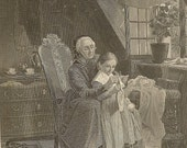 Heel and Toe Antique Engraving Grandmother Teaching Girl How to Knit - Engraving from 1850s Detailed Tender Scene Ready for Framing