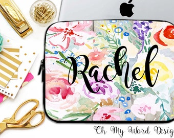 Personalized Laptop Sleeve-Water Color Flowers-Laptop Sleeve-Laptop Sleeve-Neoprene Laptop Sleeve-Laptop Cover