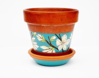 "Hand Painted Flower Pot and Saucer ""Bloomed Collection"" Vintage Terracotta 5.5 Inch Planter- Ready to Ship"