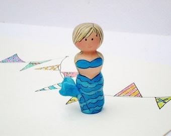 Mermaid Doll, Wood Peg Toy
