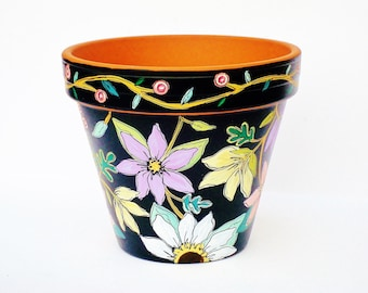 """Hand Painted Planter 6 Inch Terracotta Pot """"Brightly on Black"""" Made to Order"""