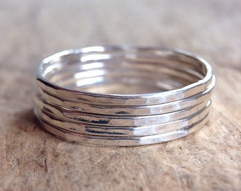 Five Stackable Rings, 5 Rings, Sterling Silver Ring, Stacking Ring, Skinny Ring, Gift For Her, Bohemian Ring, Bohemian Jewelry
