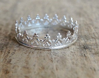 Bohemian Princess Ring, Sterling Silver Crown Ring, Tiara Ring, Sterling Silver Ring Band, Bohemian Ring, Bohemian Jewelry, Mother's Day