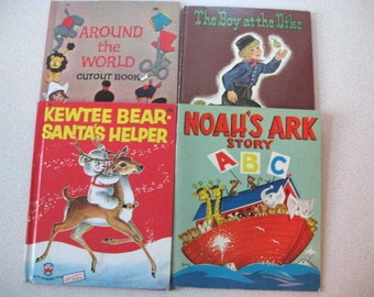 Children's Book Lot of 4 - Kewtee Bear Santa's Helper, Around The World Cutout Book, Noah's Ark Story ABC, The Boy At The Dike