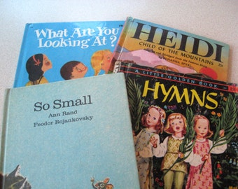 Children's Book Lot of 4 - So Small by Ann Rand, Little Golden Book HYMNS, What Are You Looking At? HEIDI
