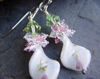Christmas White Glass and Sterling Silver Earrings