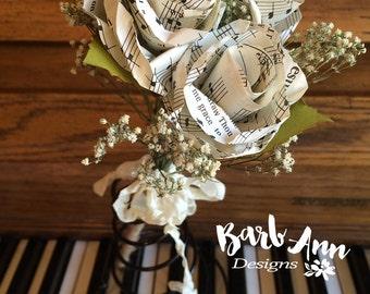 Small Sheet Music Paper Rose Bouquet for Weddings, Bridal or Bridesmaid Bouquet, Music Recital Gift, Teacher Gift, Music Lover Bouquet