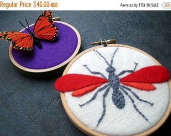 On Sale Wasp and Butterfly hand embroidered hoop art home decor wall decoration red orange purple by mlmxoxo