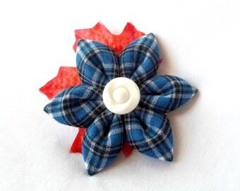 Royal Blue Plaid Hair Flower with Red Maple Leaf Kanzashi Barrette