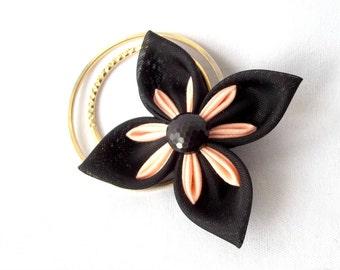 Black Kanzashi Hair Flower with Peach and Gold Clip