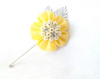 Yellow Kanzashi Flower Lapel Pin Fabric Flower Boutonniere