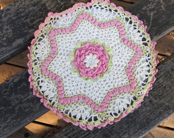 Crocheted Flue Cover Vintage Home Decor Pink and White Kitchen Home Decor