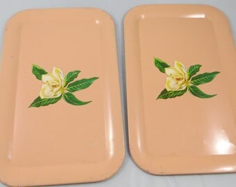 Pair of Peach Coral Vintage Metal Shabby Style Serving Lap Trays Rectangle Shaped with White Flower Mangnolia