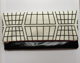 Leather clutch bag with monochrome print fabric and pink zipper, large