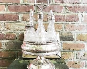 Antique Victorian Era Silver Plated Tiffany & Co Cruet Stand