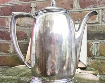 Vintage 1948 Silver Hotel Teapot from The Bellevue-Stratford in Philadelphia