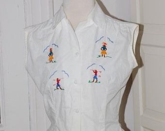 50s Blouse, Embroidered, Souvenir, Hourglass, White Cotton, Embroidery, Size Medium