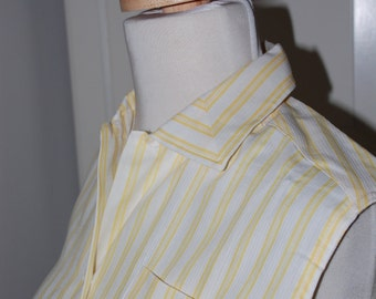 50s Yellow Striped Blouse, Deadstock, Cotton, Sleeveless, New Old Stock, Lady Sutton, Size Medium