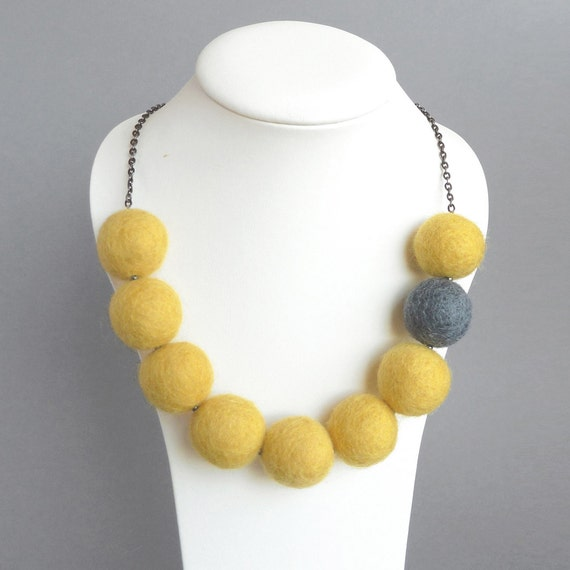Yellow Felt Necklace - Lemon and Gray Chunky Felt Bead Necklace - Statement Necklace - Mustard and Gray Fairtrade Felted Ball Jewelry