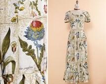 Botanical Print Dress M • Boho Floral Maxi Dress • Peasant Dress • Scoop Neck Dress • 60s Maxi Dress • Ruffle Dress • Boho Maxi Dress | D706