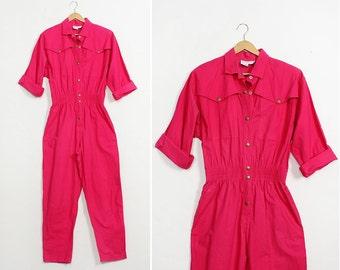 Hot Pink Jumpsuit L • 80s Jumpsuit • Cotton Jumpsuit • Utility Jumpsuit • Long Sleeve Romper • Women's Jumpsuit | D856