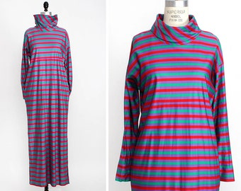 Technicolor Maxi Dress S • Purple, Green and Red Striped Dress• Long Sleeve Maxi Dress with Pockets • Funnel Neck Dress | D531