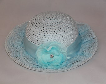 Tea Party Hat - Pale Blue Easter Bonnet with Satin Ribbon - Girls Sun Hat - Easter Hat -  Birthday Hat - Sunday Dress Hat - Derby Hat  1671