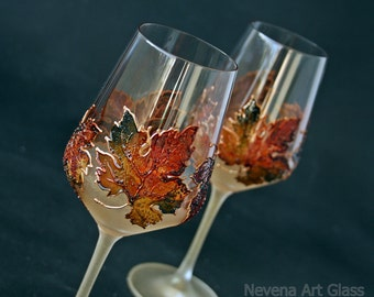 Maple Leaves Glasses, Autumn Leaves Glasses, Fall Wedding Glasses, Hand Painted, Set of 2