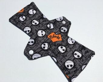 10 Inch Cloth Menstrual Pad Regular Flow Tossed Jack Skellington Halloween