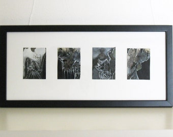 Original watercolor painting, small framed art, black silver gray abstract, Nibiru Tetraptych