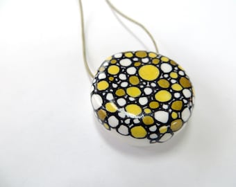 Yellow and Gold Pebble Pendant - hand painted polymer clay