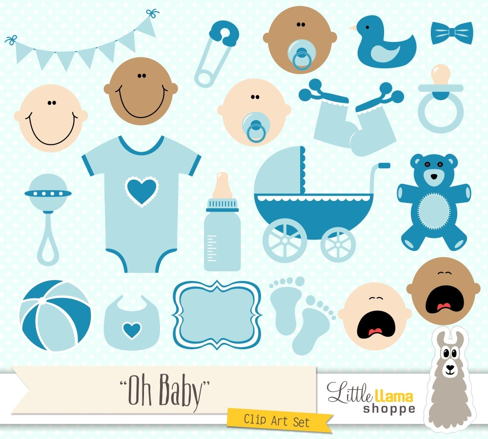 Baby Shower Clipart Blue Baby Clip Art Boy by ...