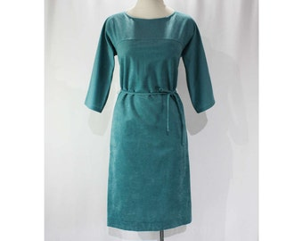Size 10 Turquoise Dress - 1980s Faux Suede Sheath Dress - 80s Dusky Blue Perforated Knit - Tie Belt - NWT Deadstock - Bust 38 - 46591-1