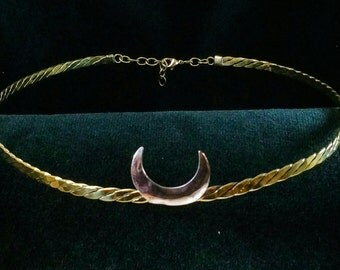 Silver or Brass Crescent Moon on Braided Band Circlet Headpiece