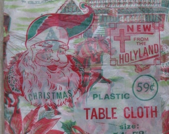 "plastic Christmas tablecloth new in package 54"" by 72 "" made in Israel new old stock mid century Christmas gift idea"
