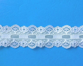 White Flat Beaded Lace Sewing Trim Aqua Ribbon 5 Yards by 1 Inch Wide L0557