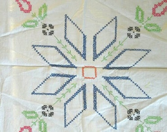Six Embroidered Vintage Quilt Blocks Pink Flower with Blue Star Design X0546