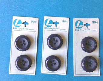 Large One Inch Four Hole Navy Blue Vintage Carded Buttons N0005