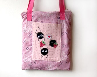 Soot bag with strawberries inspired by my neighbour totoro and spirited away movies