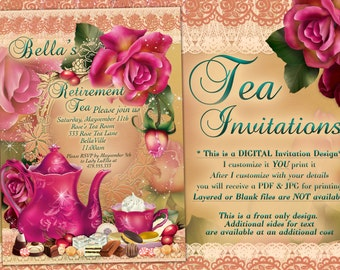 Tea Party Invitations, Tea Parties, Party Invitations, Retirement Tea Party