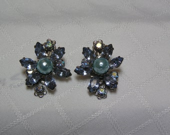 Vintage blue marquis rhinestone and blue beaded flower wedding clip earrings