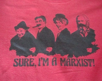 Vintage 90's  Karl Marx I'm a Marxist brothers funny Punk Rock T shirt S