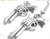 VALENTINES DAY SALE - Silver Gun Earrings - Gun Jewelry Pistol Earrings Police Gangster Costume Accessory  096
