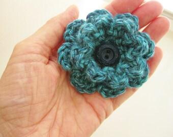 Crochet Flower Pin-Aqua Flower Pin-Flower Brooch- Crochet Flower-Scarf Pin-Turquoise Flower with Button-Crocheted Pin- Flower Hat Pin