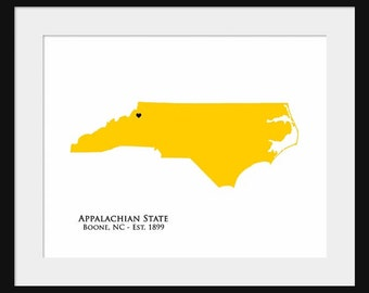 Appalachian State University - North Carolina Map - Print Poster - College State Map