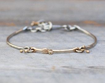 Diamond Petal Link Bracelet - Sterling Silver 14k Gold Botanical Diamond Link Bracelet - Eco-Friendly recycled Gold