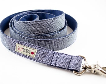 Indigo Herringbone Dog Leash
