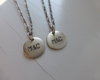 couples matching initials necklaces custom boyfriend girlfriend lesbian gay gift relationship anniversary valentines day hand stamped