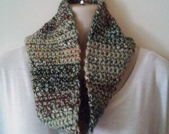 Crocheted Cowl Infinity Scarf - Sea Foam Green, Brown, Olive, Gold and Cream